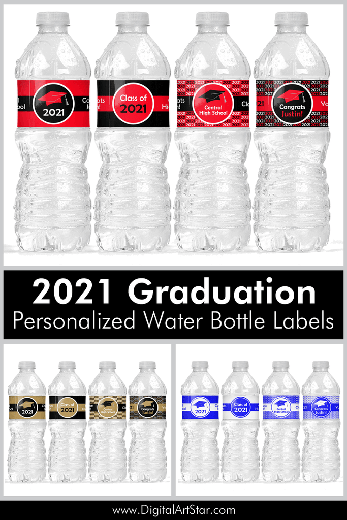 2021 Personalized Graduation Water Bottle Labels Printable