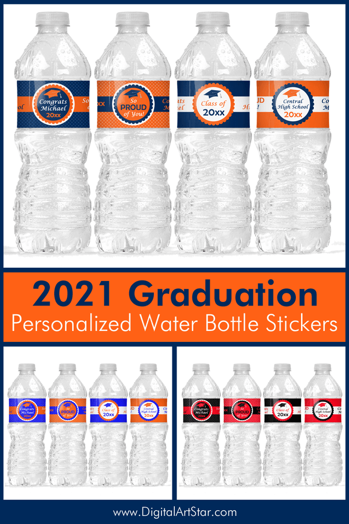 2021 Personalized Graduation Water Bottle Stickers Printable