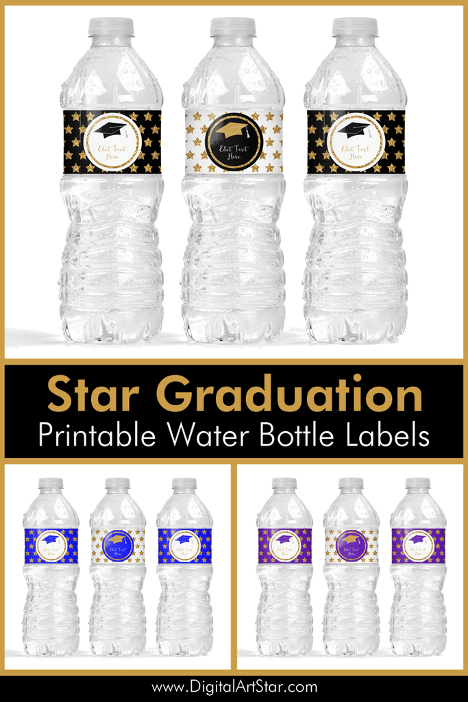 2021 Printable Graduation Water Bottle Labels with Glitter Stars