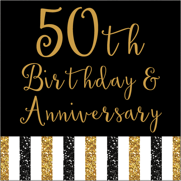 50th Anniversary Party Supplies by Digital Art Star