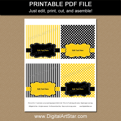 Printable Yellow and Black Birthday Goodie Bag Toppers