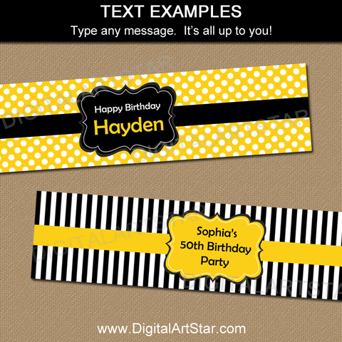 Editable Water Bottle Labels in Yellow Black White for 50th Birthday Party Decorations