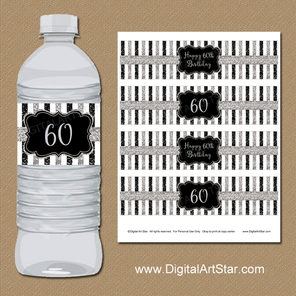 Printable 60th Birthday Water Bottle Labels in Silver Black and White
