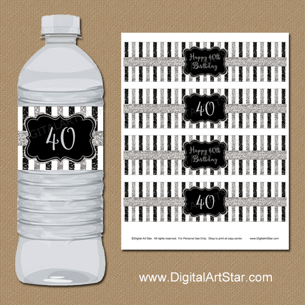 40th Birthday Water Bottle Labels with Black and Silver Glitter Stripes