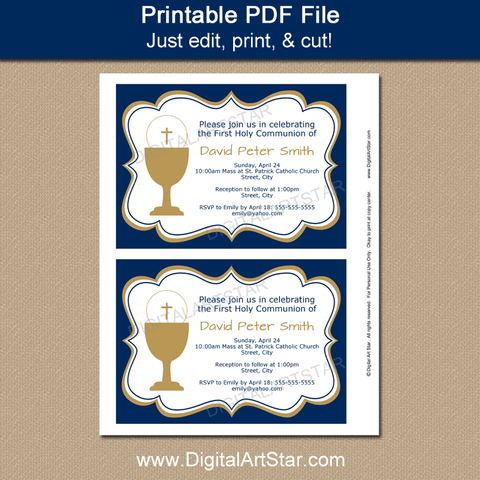 Printable Navy First Communion Invitations for Boys
