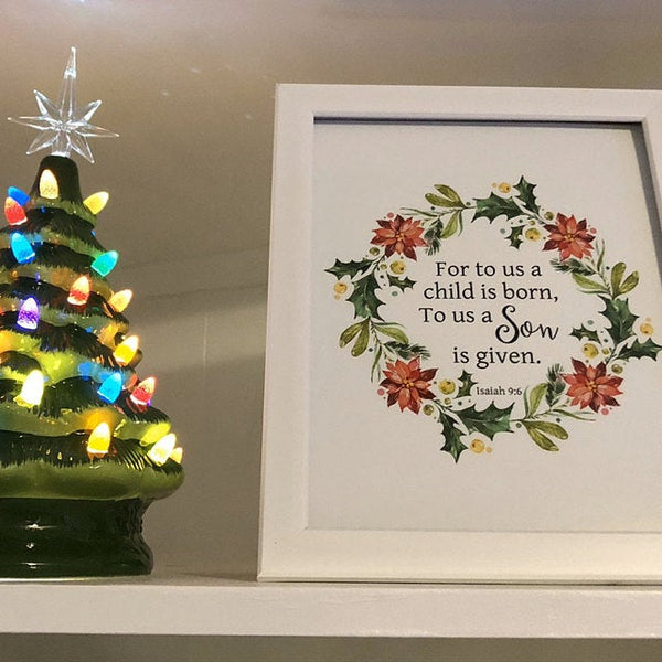 For to Us a Child is Born Isaiah 9:6 Christmas Wall Art