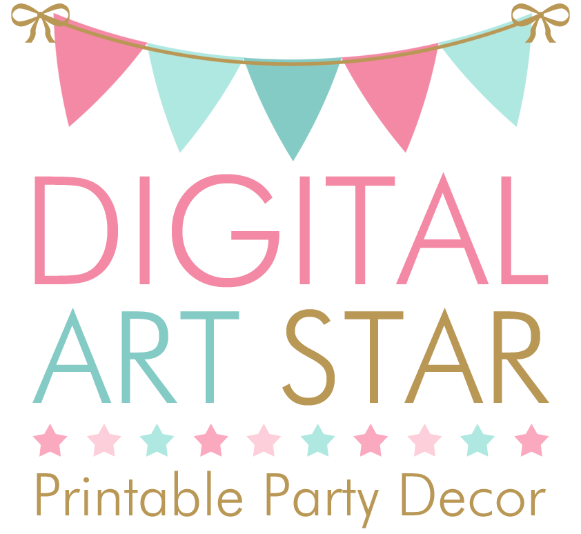 Digital Art Star Printable Party Decor