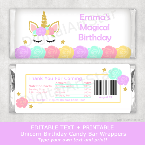 Magical Unicorn Birthday Party Favors Printable Candy Wrappers