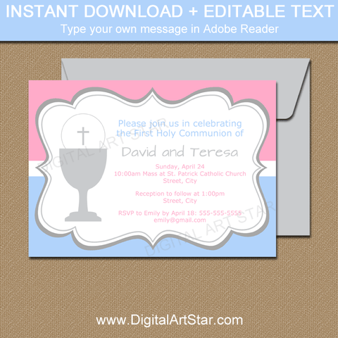 Instant Download Editable First Communion Invitation Template for Boy Girl Twins in Pink and Blue