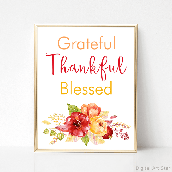 Grateful Thankful Blessed Wall Art with Fall Flowers