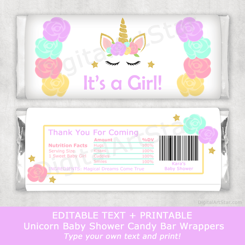 Printable Unicorn Baby Shower Candy Bar Wrappers for Favors