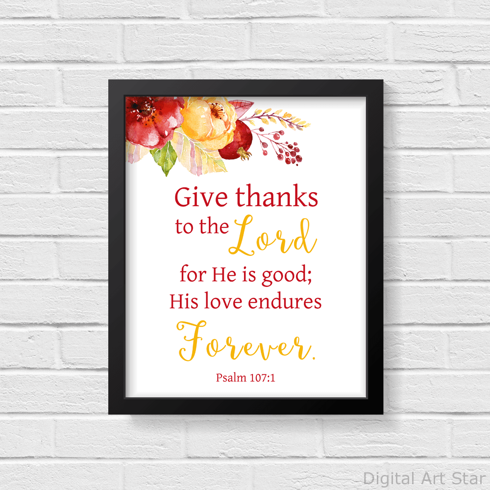 Floral Scripture Art Print Give Thanks to the Lord