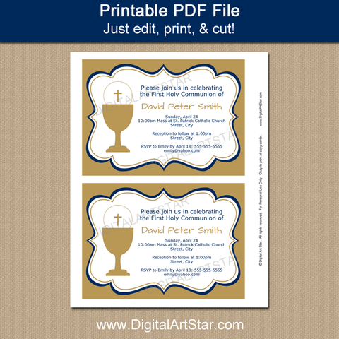 Boy First Communion Printable Invitation Template Gold and Navy Blue