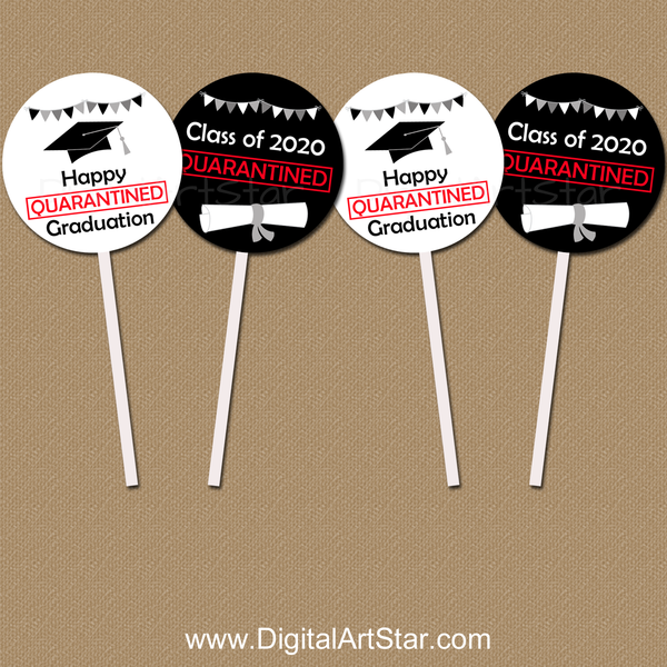 2020 Quarantine Graduation Cupcake Toppers Printable