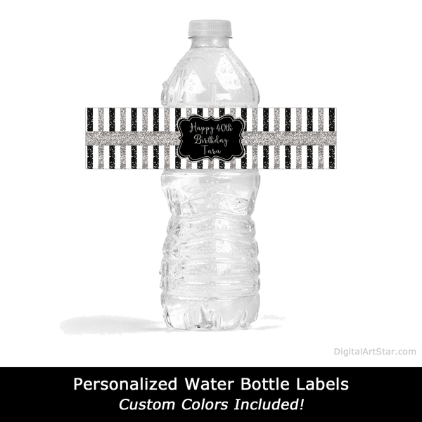 Personalized Black and Silver Birthday Water Bottle Stickers