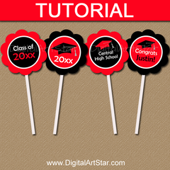 Picture Tutorial for Graduation Cupcake Toppers