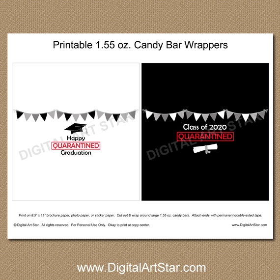 Quarantine Graduation Candy Bar Wrappers Printable PDF