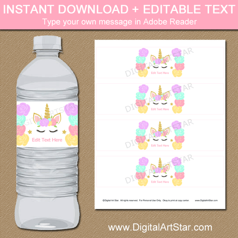 Floral Unicorn Water Bottle Label Template