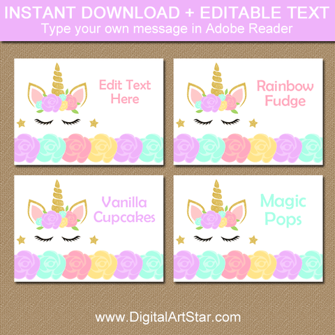 Floral Unicorn Food Labels and Place Cards