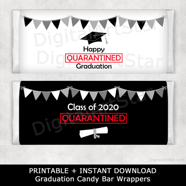 Graduation Quarantine Candy Bar Wrappers Party Supplies