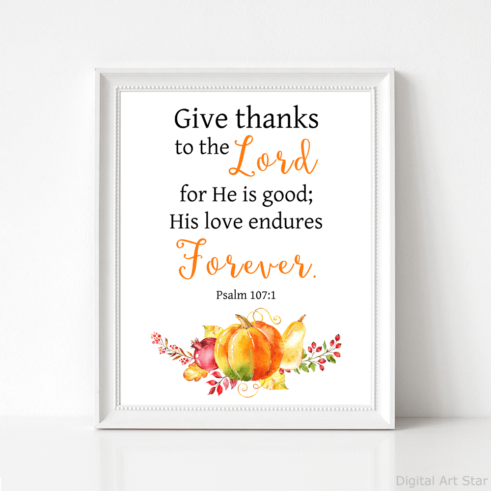 Scripture Art Print with Pumpkin Decoration