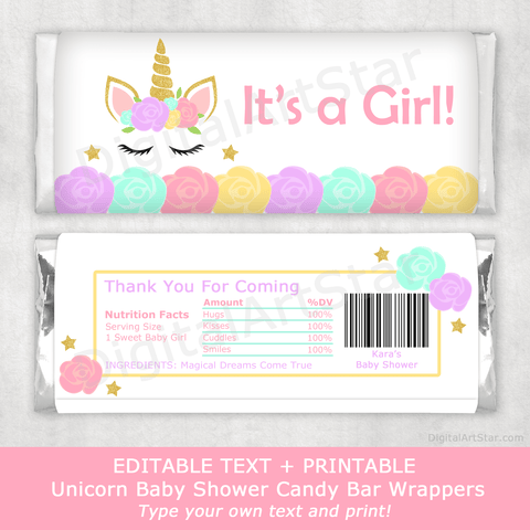 Unicorn Printable Party Favors Chocolate Bar Wrappers