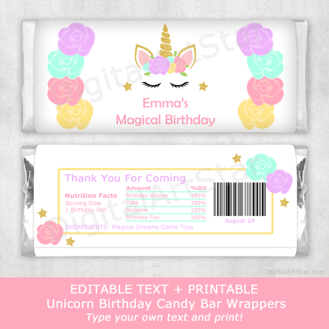 Unicorn Birthday Party Candy Bar Wrappers