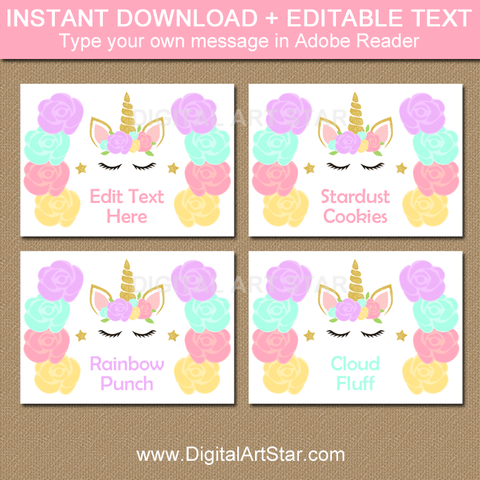 Instant Download Floral Unicorn Food Label Template