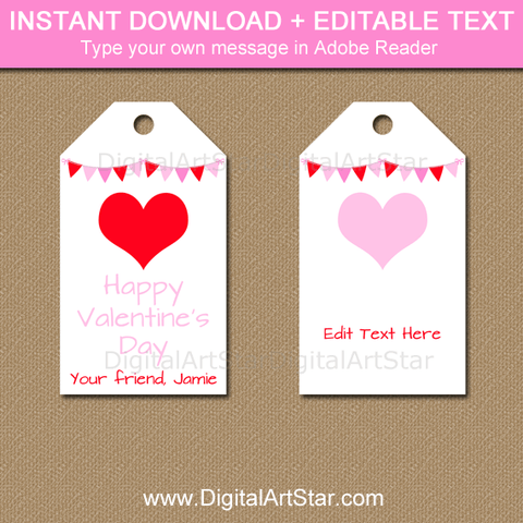 Printable Valentine Tags for Teachers