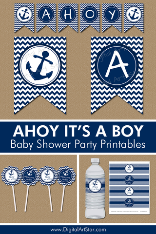 Ahoy Its a Boy Baby Shower Party Printables