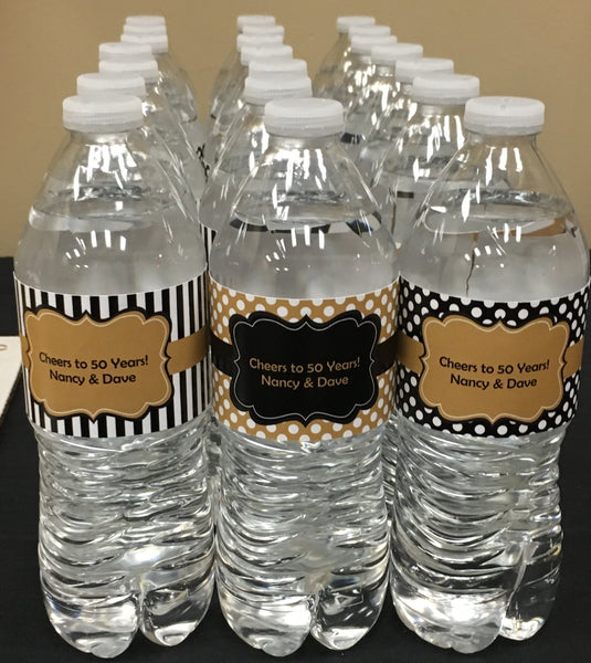 Black and Gold Anniversary Water Bottle Labels