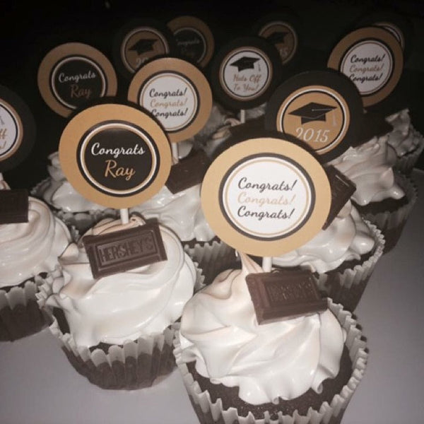 Black Gold White Graduation Cupcake Toppers Decor