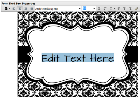 how to change the text on your editable party printable; highlight the words and type new words