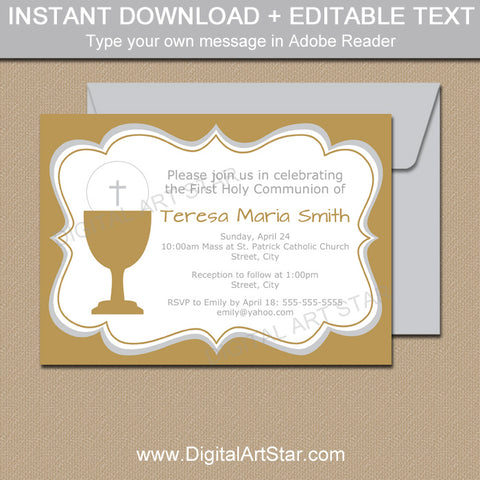 Gold First Holy Communion Invitation Printable for Girl and Boy Twins