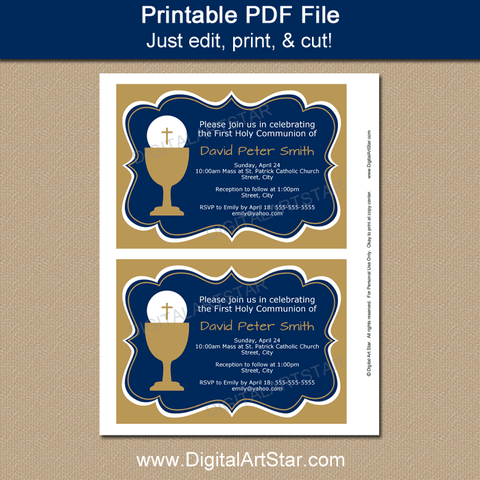 Printable Boy Communion Invitation with Sample Invitation Wording