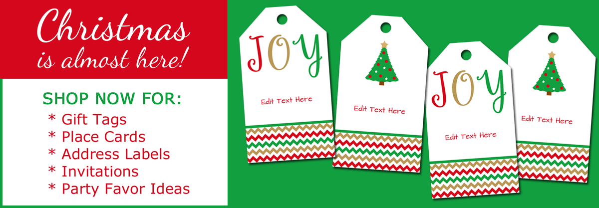 printable Christmas gift tags, place cards, address labels by Digital Art Star