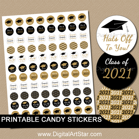 Class of 2021 Black and Gold Graduation Candy Stickers