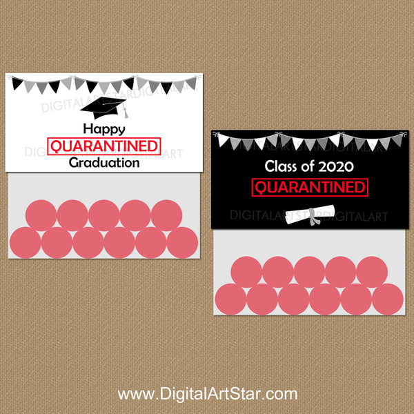 Quarantine Graduation Party Supplies Printable Treat Bag Toppers