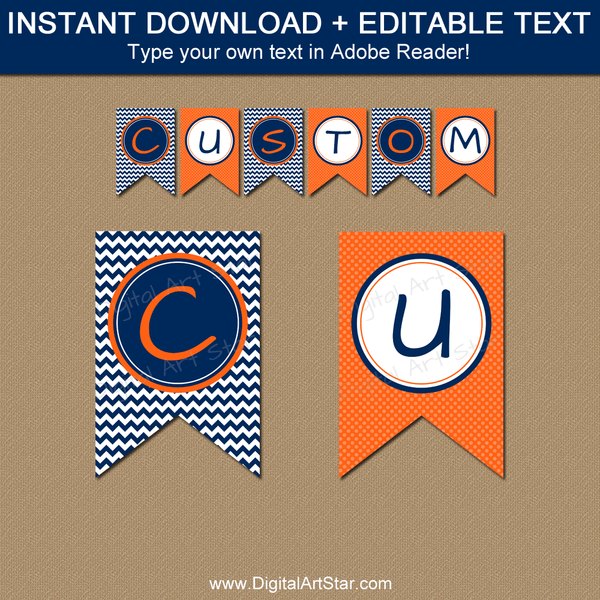 Custom Birthday Banner Template Navy Blue Orange White