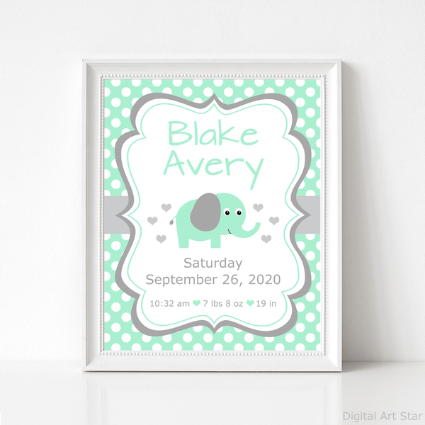 Mint Green Elephant Baby Birth Stats Printable Sign