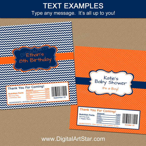 Editable Birthday Candy Bar Wrappers Template Orange Navy White