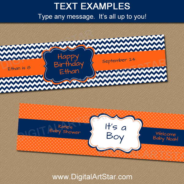 Navy Orange Birthday Printable Water Bottle Label Editable Template