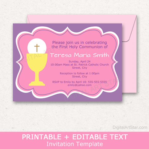 First Holy Communion Invitation Card Template Pink Purple Yellow