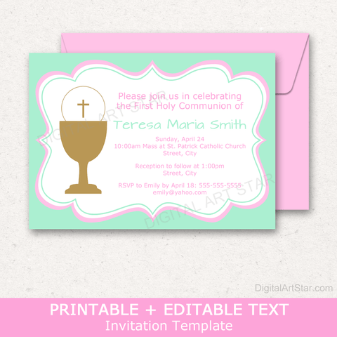 Editable Girl First Communion Invitation Printable in Mint Green and Pink