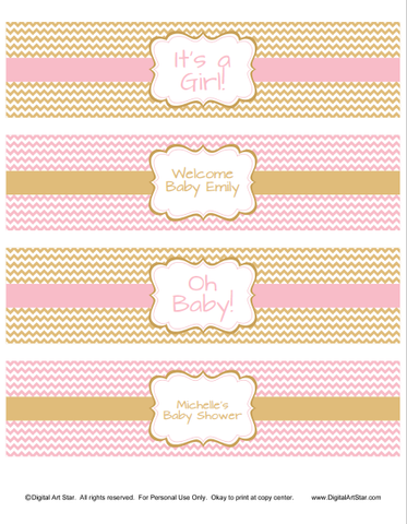 printable pink and gold baby shower water bottle labels by Digital Art Star