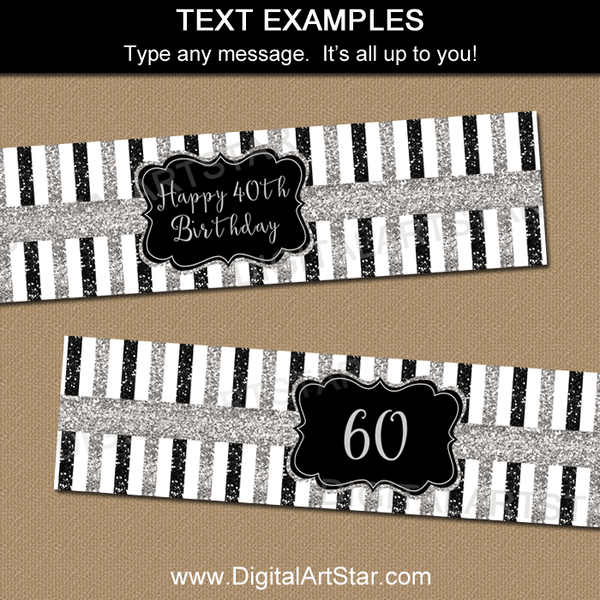 Black and Silver Editable Water Bottle Labels Template