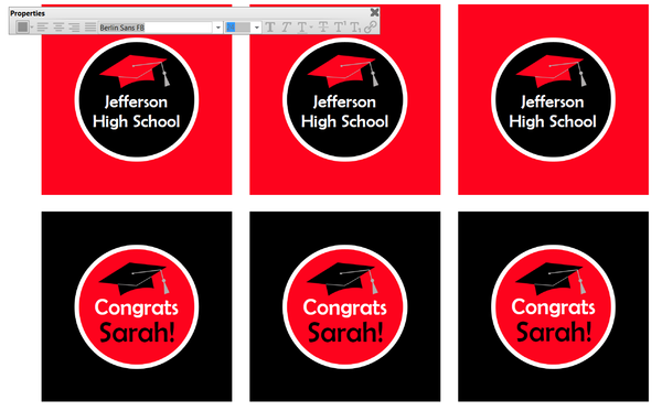 Change School Name and Graduate Name on Editable Graduation Cupcake Toppers