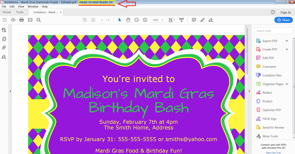 Editable Invitation in Adobe Reader