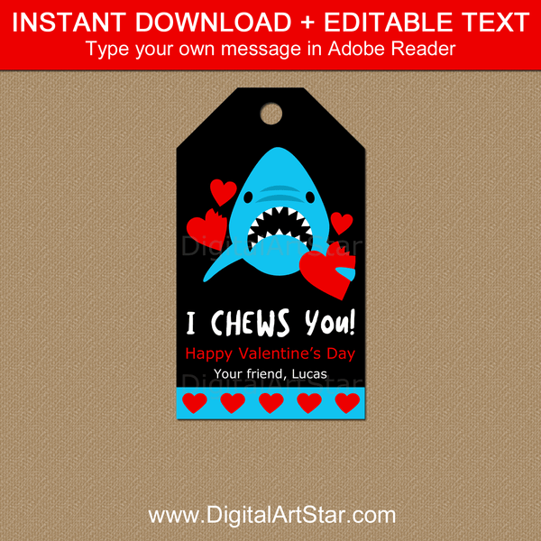 Editable Valentine's Day Gift Tags with Shark
