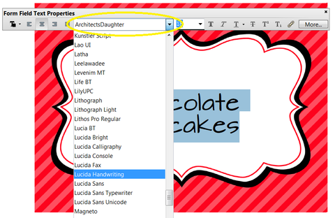 how to choose a new font in Adobe Reader on your editable food labels